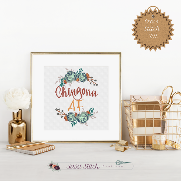 Chingona AF Cross Stitch Kit - Sassi Stitch Boutique