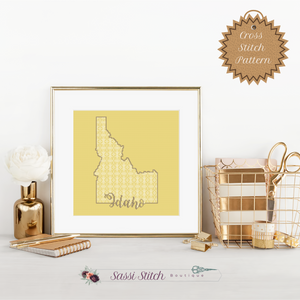 Idaho Blackwork Cross Stitch Pattern - Sassi Stitch Boutique