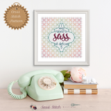 I Was Raised to Sass at Defcon 5 Cross Stitch Pattern - Sassi Stitch Boutique