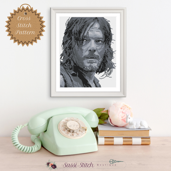 Daryl Dixon Cross Stitch Pattern - Sassi Stitch Boutique