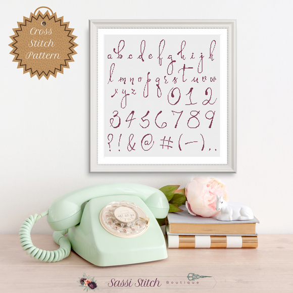 Script Cross Stitch Font Pattern - Sassi Stitch Boutique