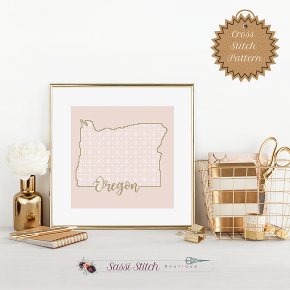 Oregon Blackwork Cross Stitch Pattern - Sassi Stitch Boutique