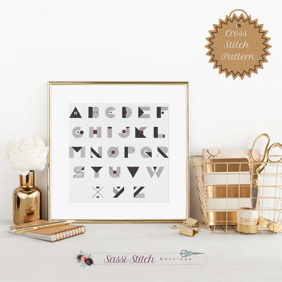 Geometric Cross Stitch Font Pattern - Sassi Stitch Boutique