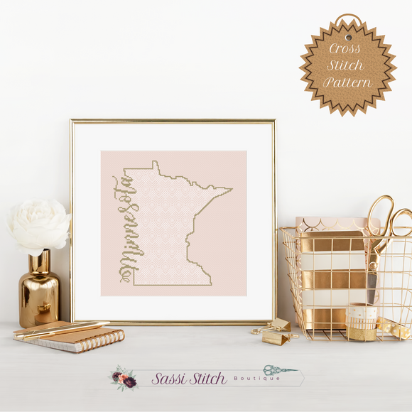 Minnesota Blackwork Cross Stitch Pattern - Sassi Stitch Boutique