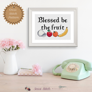 Blessed Be the Fruit Cross Stitch Pattern - Sassi Stitch Boutique