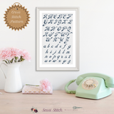 Cursive Cross Stitch Font Pattern - Sassi Stitch Boutique
