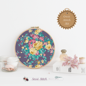Purple Floral Print Cross Stitch Kit