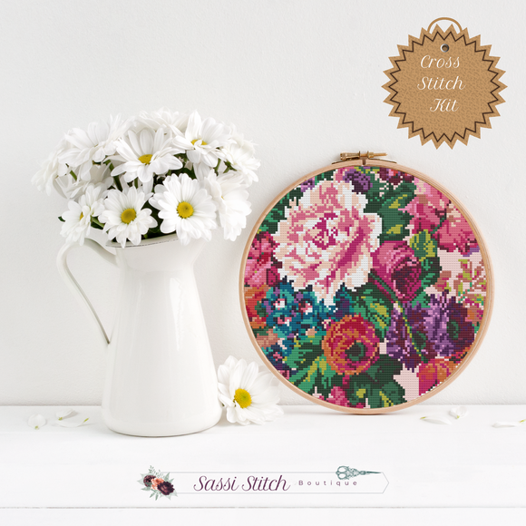 Large Floral Print Cross Stitch Kit - Sassi Stitch Boutique