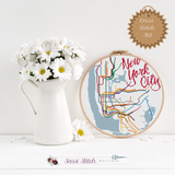 New York City Transit Map Cross Stitch Kit - Sassi Stitch Boutique