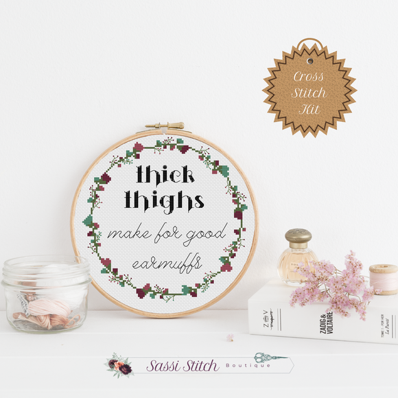 Thick Thighs Cross Stitch Kit - Sassi Stitch Boutique