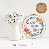 Custom Floral Wreath Cross Stitch Pattern