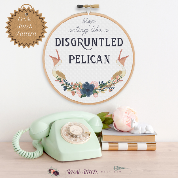 Disgruntled Pelican Cross Stitch Pattern - Sassi Stitch Boutique
