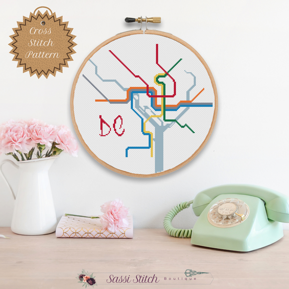 DC Transit Map Cross Stitch Pattern - Sassi Stitch Boutique