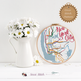 New York City Transit Map Cross Stitch Pattern - Sassi Stitch Boutique