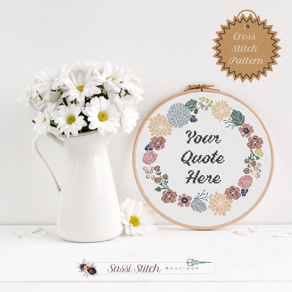 Custom Floral Wreath Cross Stitch Pattern - Sassi Stitch Boutique
