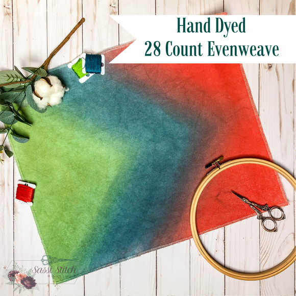 Green, Turquoise and Coral 28 Count Chevron Evenweave - 17