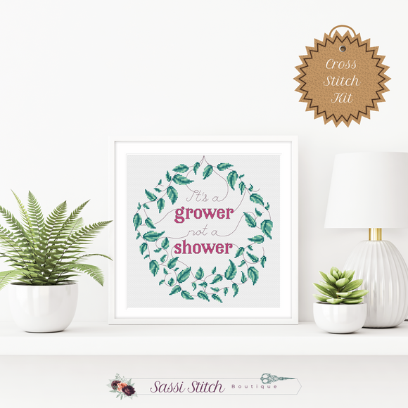It's a Grower Not a Shower Cross Stitch Kit