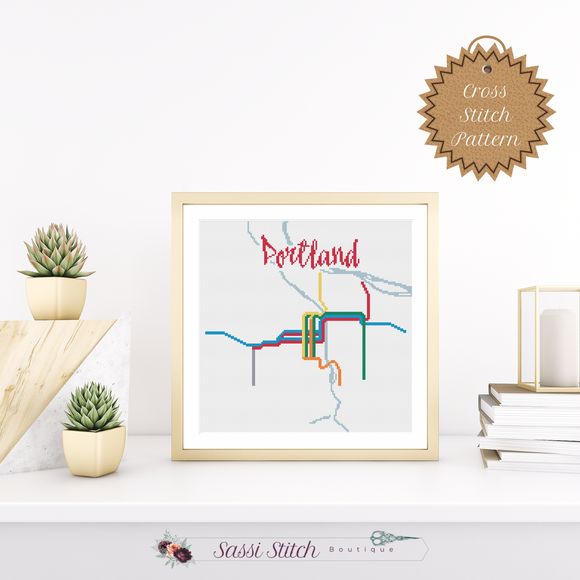 Portland Transit Map Cross Stitch Pattern