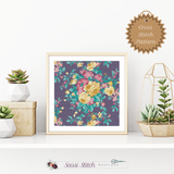 Purple Floral Print Cross Stitch Pattern