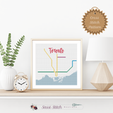 Toronto Transit Map Cross Stitch Pattern