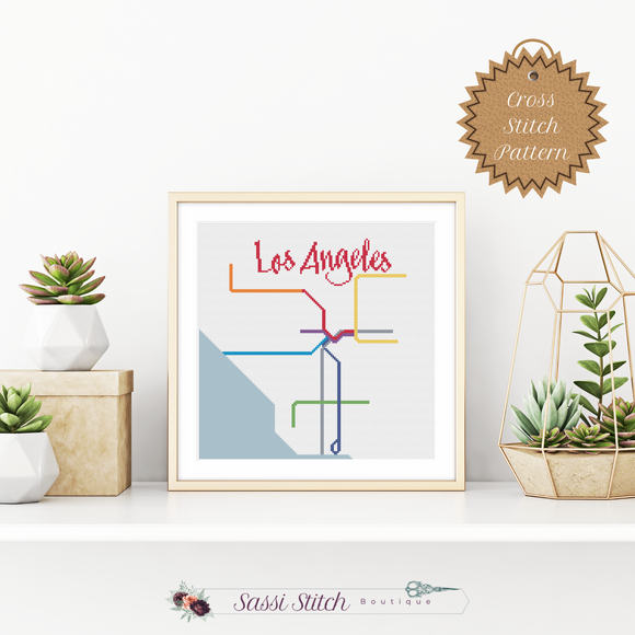 Los Angeles Metro Map Cross Stitch Pattern