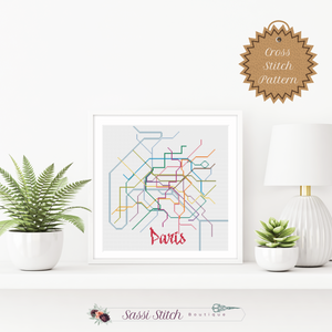 Paris Metro Map Cross Stitch Pattern