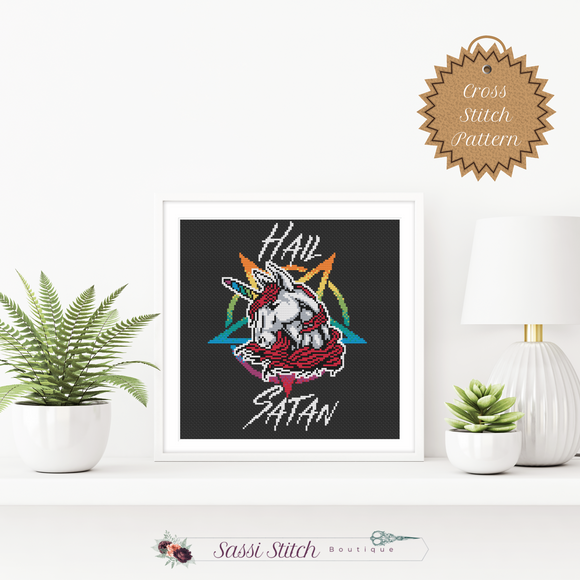 Hail Satan Unicorn Cross Stitch Pattern