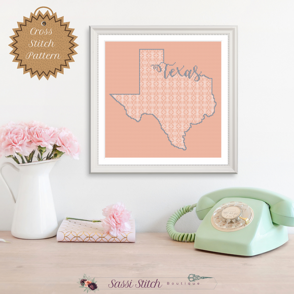 Texas Blackwork Cross Stitch Pattern - Sassi Stitch Boutique