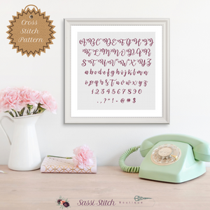 Hand Lettering Font Cross Stitch Pattern - Sassi Stitch Boutique