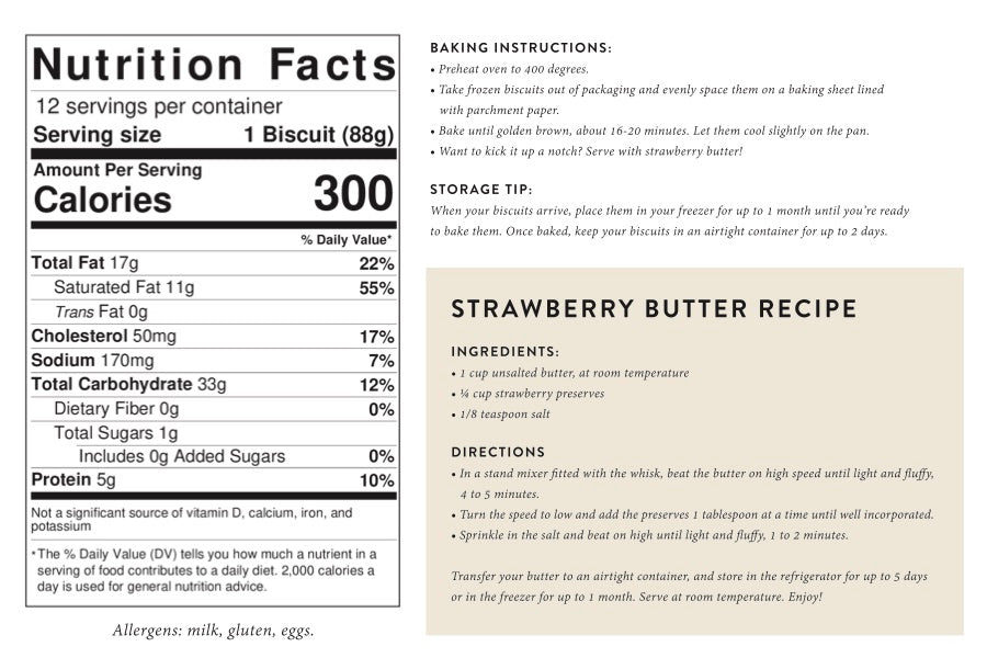 biscuit nutrition label