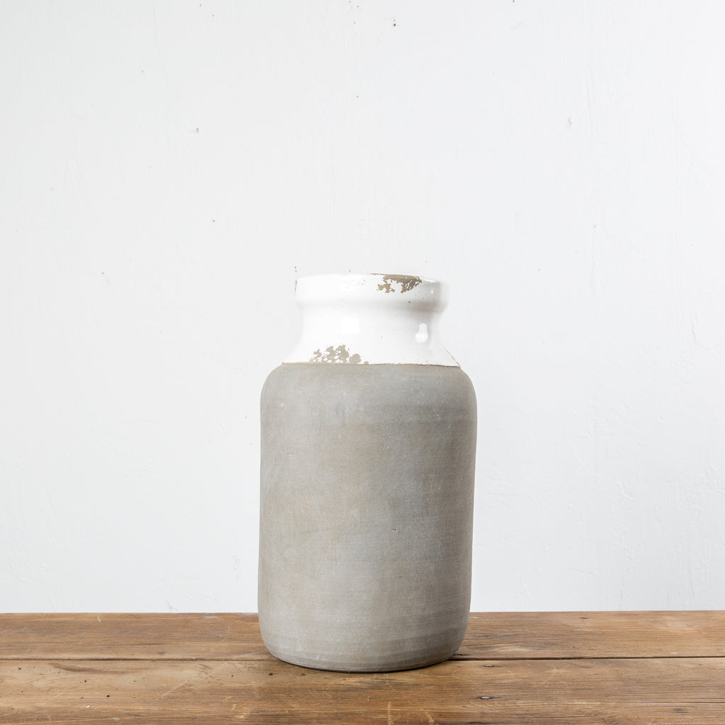 White Ceramic & Cement Pot