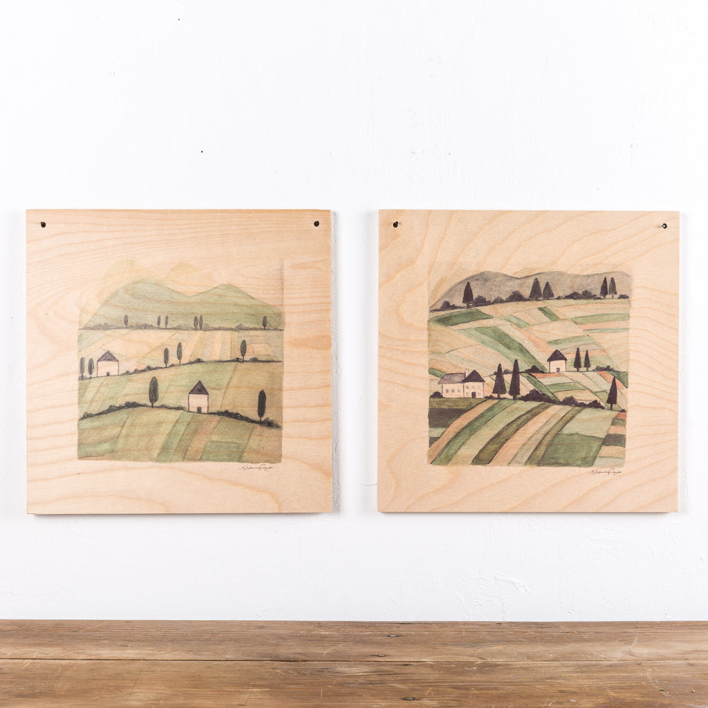 Provincial Watercolor Wood Print