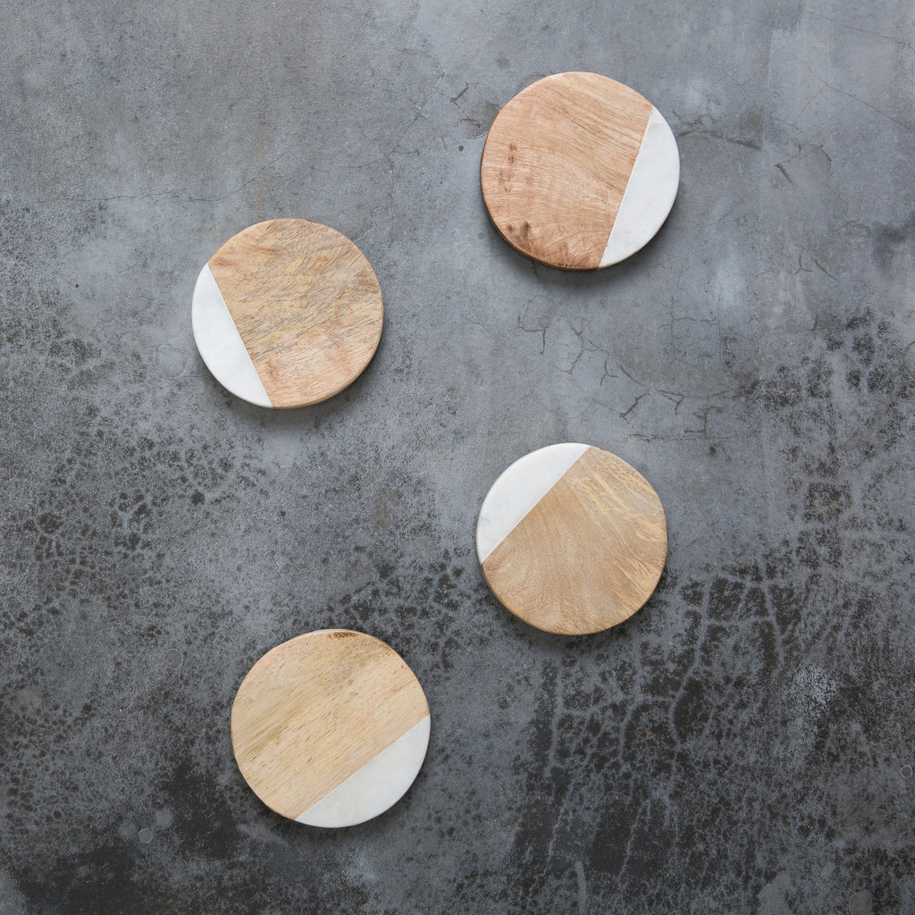 Marble & Mango Wood Coasters