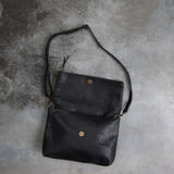 Menbere Black Leather Foldover Bag