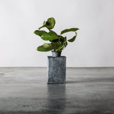 small rectangular galvanized metal vase