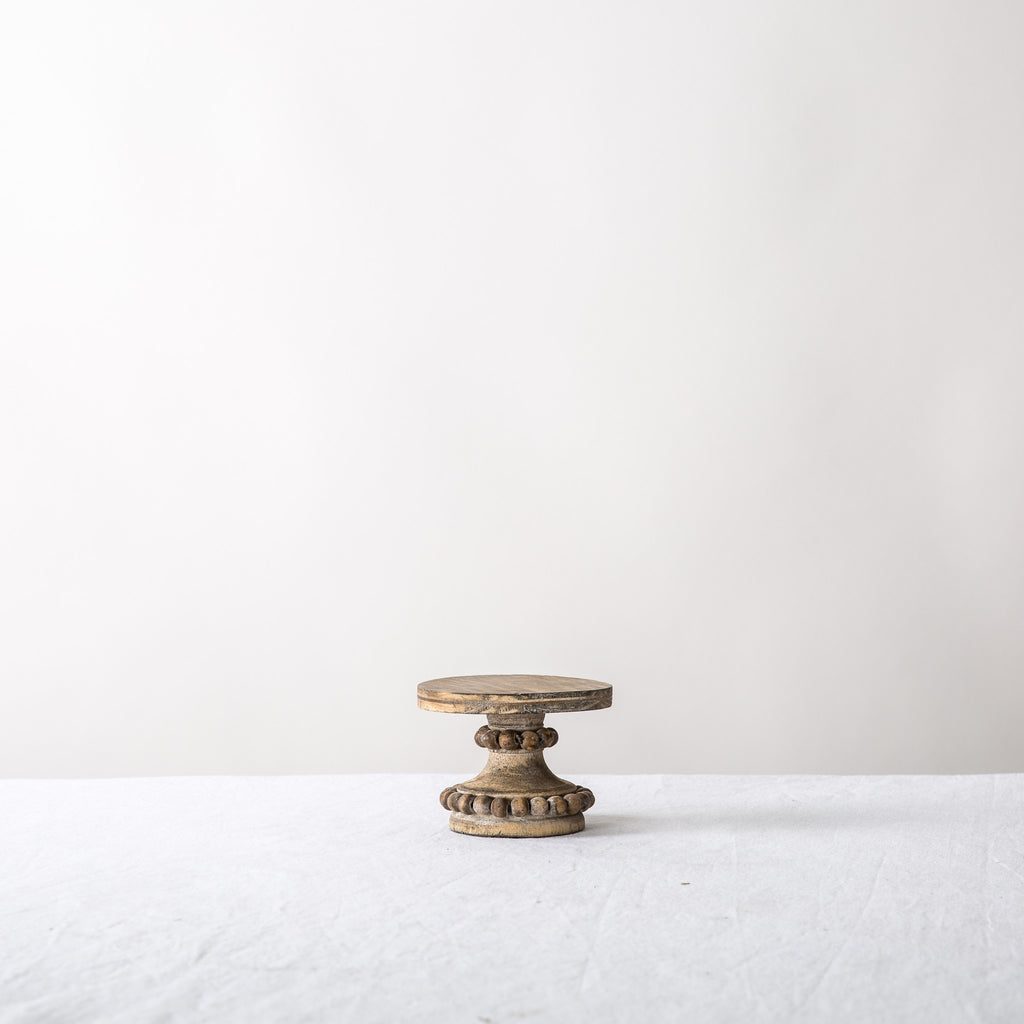 Petite Wood Beaded Cake Stand