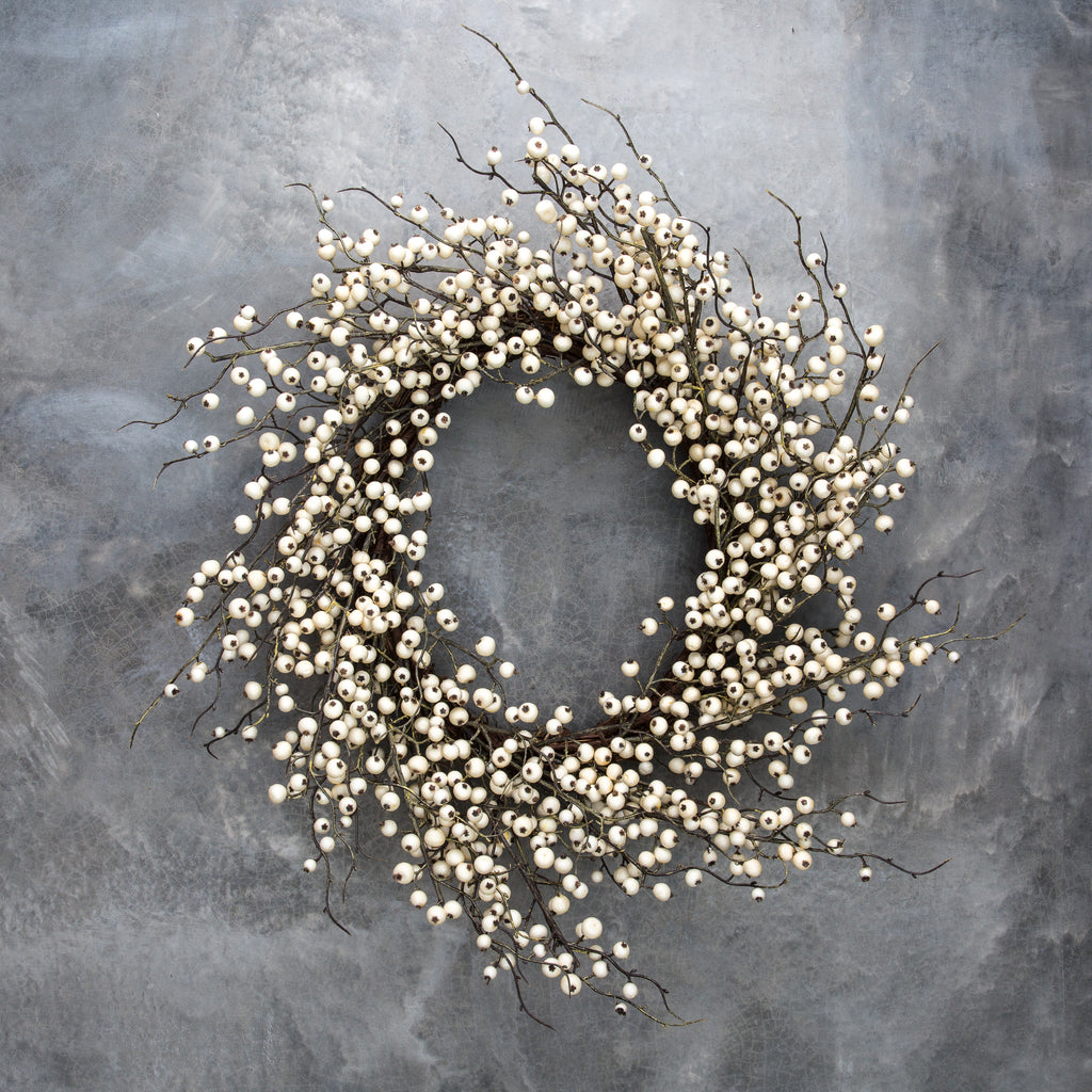 Fake White Berry Wreath