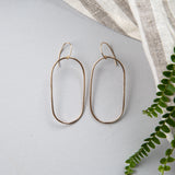 bronze oval hoop earrings