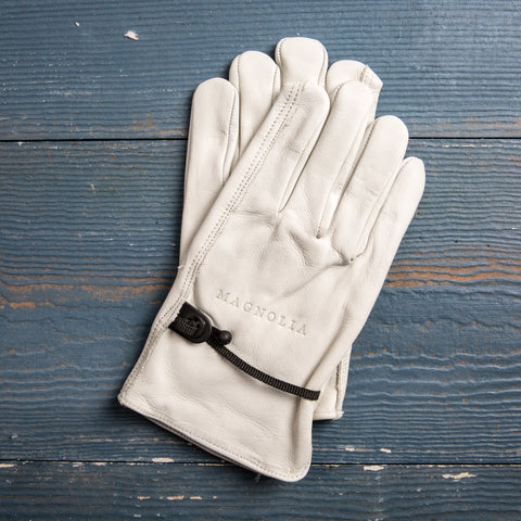 leather work gloves with debossed Magnolia logo