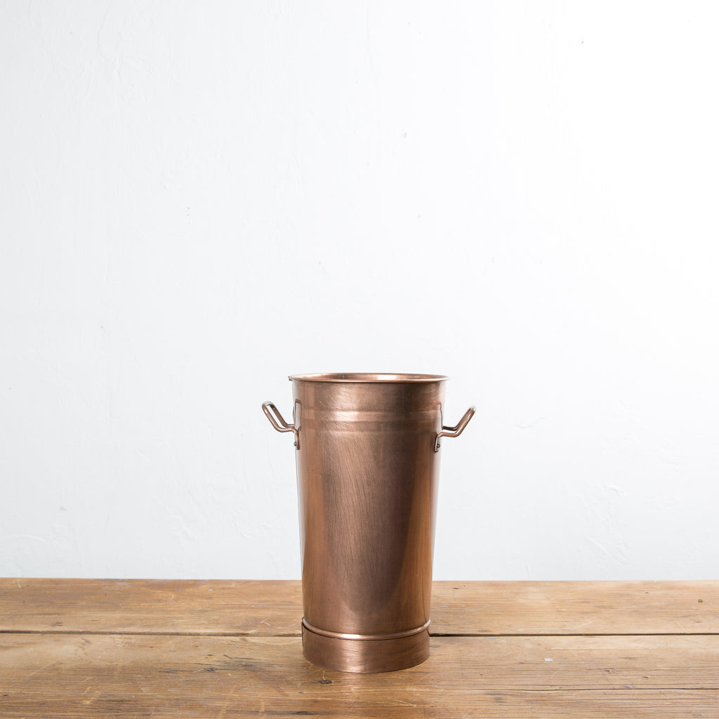 copper flower bucket with handles