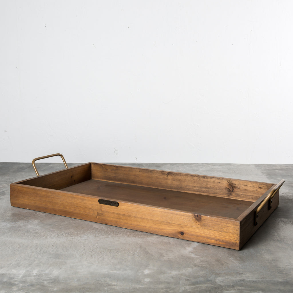 wooden rectangular tray with metal handles