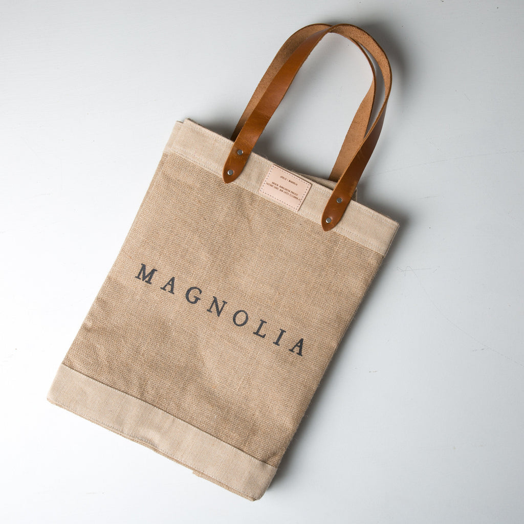 canvas tote with leather handles and magnolia logo