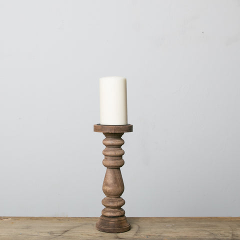 turned wooden pillar candlestick