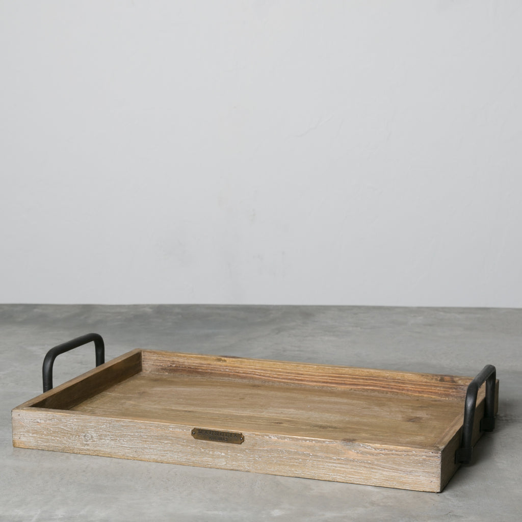 wood serving tray with metal handle