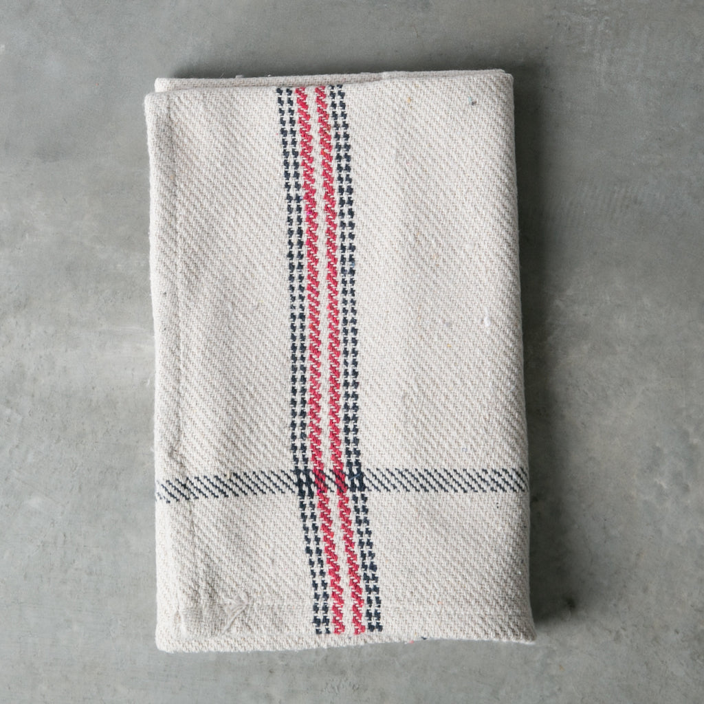 Red and Blue Distressed Cotton Kitchen Towel