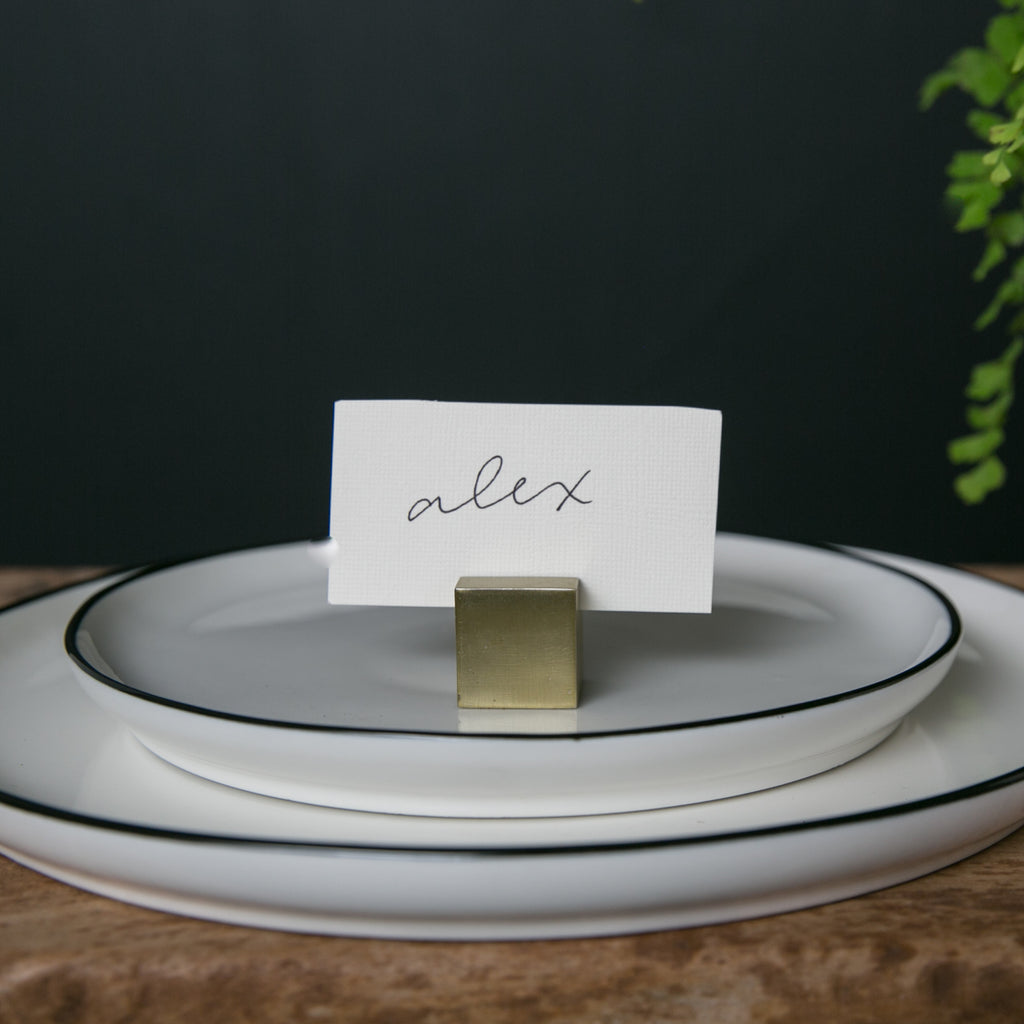 Square Brass Place Card Holder