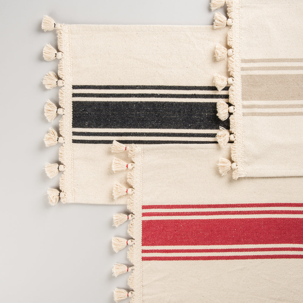 Striped Runner with Tassels