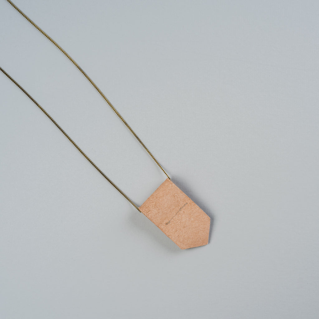 leather fold necklace with brass chain