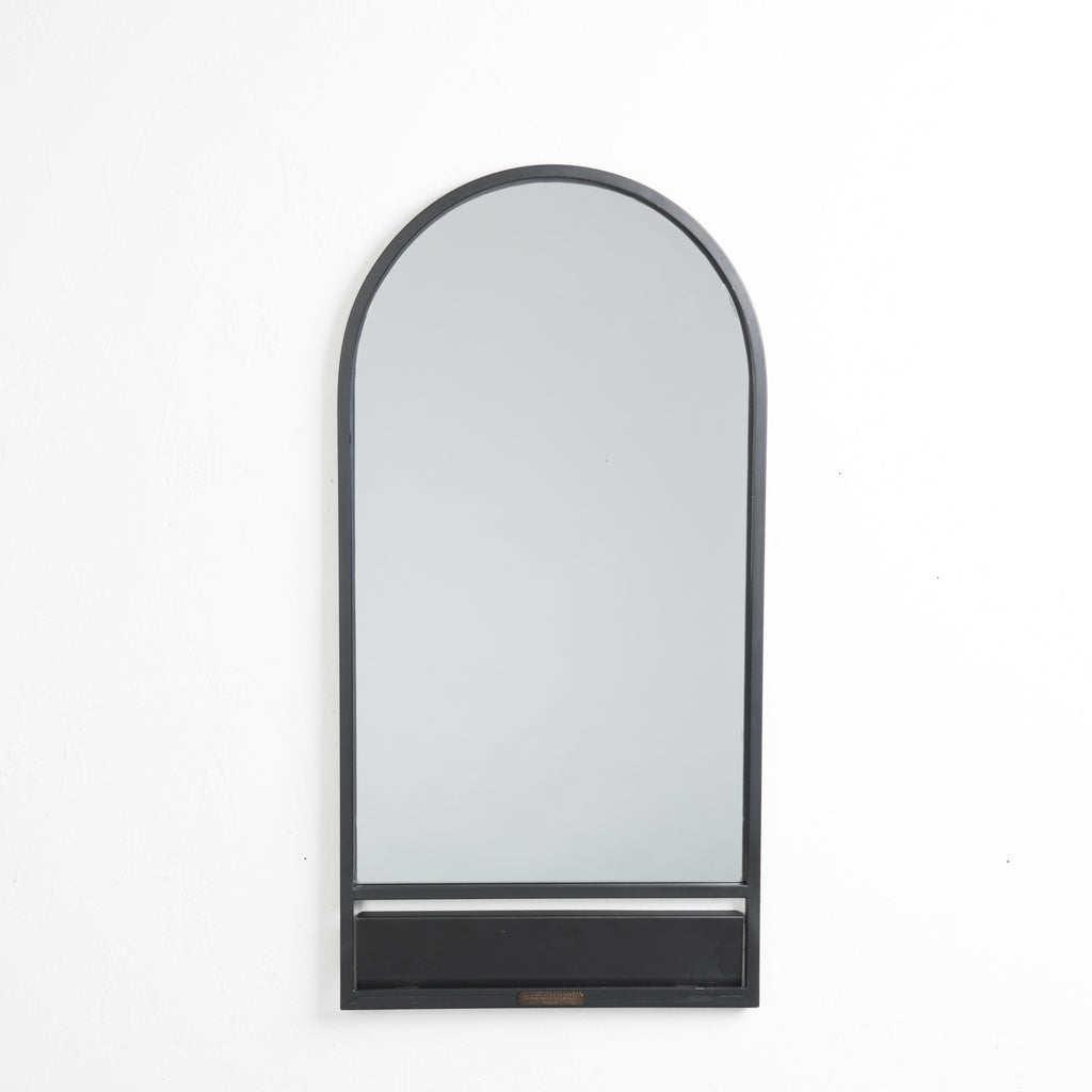 black metal arched mirror with folding shelf
