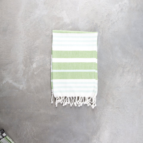 green and white striped cotton tea towels with tassels
